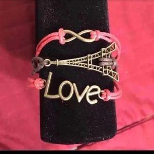 3/$15 ** Love Infinity Eiffel Tower Red Bracelet